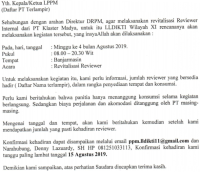 Revitalisasi Reviewer Internal PT Klaster Madya LLDIKTI Wilayah XI